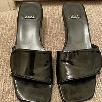 Stuart Weitzman Womens Sz 6.5 Edgemont Black Patent Slide Sandal Photo