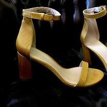 Stuart Weitzman Womens Yellow 75lessnudist Ankle Strap Sandal Sz 10 Photo