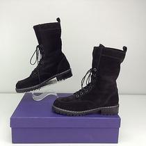 Stuart Weitzman Workout Boots Size 6 M Nero Black Suede Velour Snow Lug Sole Photo