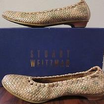 Stuart Weitzman Woven Kitten Heel Ballet Goldwash Size 8  Photo
