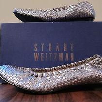 Stuart Weitzman Woven Kitten Heel Ballet Pewter Size 8  Photo