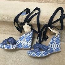 Stuart Weitzman X Theodora & Callum Wedge Sandals - Boho Blue White Canvas - 8.5 Photo