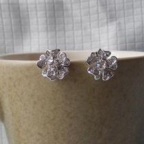 Stud Earrings Clear Swarovski Crystal Flower Stud Earrings E6016 Photo