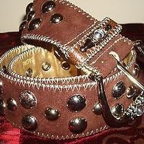 Studded Belt Kathy Van Zeeland Ornate Jewel Big Silver Studs Brown Faux Suede M Photo