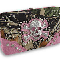 Studded Rhinestone Skull Forest Camo Flat Wallet With Croc Trim Color Pink Photo