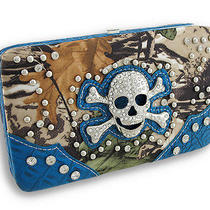 Studded Rhinestone Skull Forest Camo Flat Wallet With Croc Trim Color Blue Photo