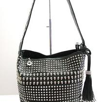 Studded Skull Designer Inspired Rhinestone Skullsstudsfringehobo Bag. Black  Photo