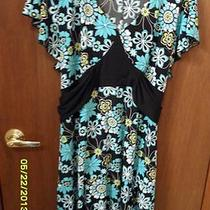 Studio 1940 Retro Print  Floral Plus Size Dress. 26w/28w  Aqua Ties in Back  Photo