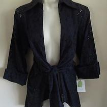 Stunning 3 Sisters S Black Eyelet Cuff Sleeves Shirt Jacket Front Knot Nwt-109 Photo