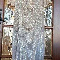 Stunning Biba Sequin Dress Ladies Art Deco Blush Ruched Silver Gown L Uk 14 Nwt Photo