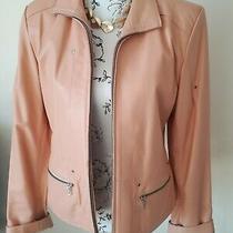 Stunning Blush Pink/nude 100% Lambs Leather Jacket Size 14 Photo