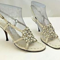 Stunning Celine 39 8.5 Italy White Leather Silver Studded Strappy Heels Paris Photo