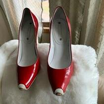 Stunning Celine Red and White Patent Leather Pumps Size 38 Photo