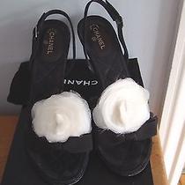 Stunning Chanel Black Silk W White Camilla Slingback Heels W Box Sz 41  725.00 Photo