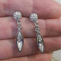 Stunning Clear Swarovski Crystal Tear Drop Dangle Post Earrings - 1.25