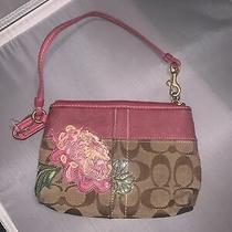 Stunning Coach Coin Purse Wallet 41419  Floral if Pink Brown Small Clutch Rare Photo