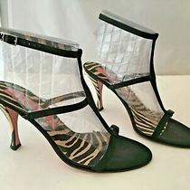 Stunning Escada 39 8.5 Italy Black Leather Satin Ankle Wrap Heels Zebra Pump Photo