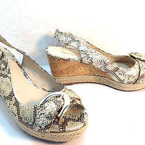 Stunning Franco Sarto Artist Collection Gold Snake Wedge Heel Platform Sandal   Photo