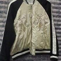 Stunning Gap Ladies Embroided Zip Front Jacket - Blac and Cream - Size M Photo