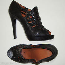 Stunning Givenchy Black Leather High Heeled Shoes/booties 40 Made in Italy Photo