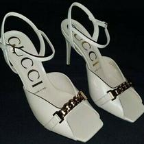 Stunning Gucci Skin Rose Sylvie Chain Stiletto Heels Sz 37.5 Us New W/box Photo