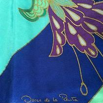 Stunning Huge Oscar De La Renta Wearable Art Silk Scarf Metallic Gold Highlights Photo