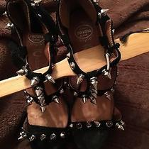Stunning Jeffrey Campbell Dominique Platform-Spiked Wooden Clog Heeled Sandals Photo
