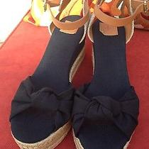 Stunning New Tory Burch 'Penny' Knotted Bow  Wedge Sandals Wedges Size 9-9.5 Photo