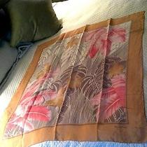 Stunning Oscar De La Renta Wearable Art Silk Scarf W Pink Shimmering Taupe  Huge Photo