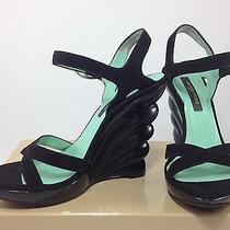 Stunning Sergio Rossi Black Suede Leather Wedge Sandals Designer Shoes - Size 36 Photo