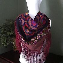 Stunning Southwestern Design Fringed Scarf by Oscar De La Renta Photo