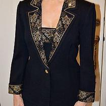 Stunning St John Knit Evening Collection Jacket Black W/ Gold Applications Sz 2 Photo