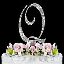 Stunning Swarovski Crystal & Sterling Silver French Monogram Cake Topper 1pc Photo