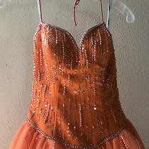 Stunning Tiffany Orange Gala Prom Gown Dress 26 Bust 24 Waist. Pre Owned Photo