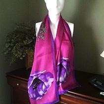 Stunning Wearable Art Purple Border Ellen Tracy Oblong Silk Scarf Photo