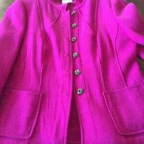 Stunning Women's Armani Collezioni Italy Hot Pink Wool Collared Jacket Size 8 Photo