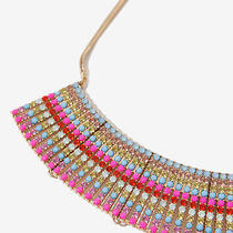 Stunning Zara Gold Necklace With Coloured Beads Stones Photo