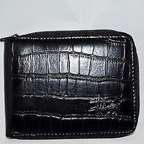 Stussy Men Leather Wallet Name Croc Zip Wallet Black  Photo