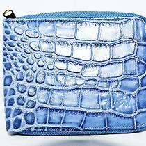 Stussy Men Leather Wallet Name Croc Zip Wallet Blue Photo