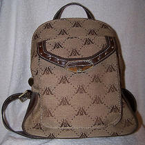 Style and Co. Canvas Brown/tan Backpack Purse Cute Photo