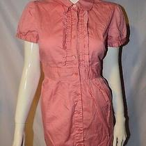 Style and Co Size 8 Button Down Blouse Light Pink Short Sleeved Dress Ruffle Photo