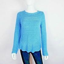 Style and Co Women Blue Crew Neck Long Sleeve Chunky Knit Pullover Sweater Sz Xs Photo