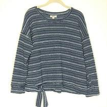 Style and Co Womens Sweater Petite Large Boxy Blue White Striped Waist Tie Short Photo