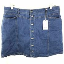 Style & Co. 22w Denim Skirt Button Front Jean Blue Women's Plus Size Summer New Photo
