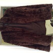 Style & Co Acrylic Fur Coat - Size Medium Brown Photo