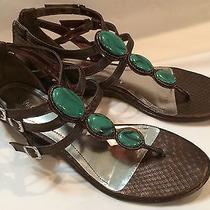 Style & Co Addison Womens Size 7 Bronze and Torquoise Sandals  European Size 38 Photo