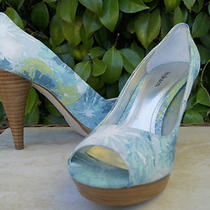 Style & Co Aqua Blue White & Green Celine Peep Toe Platform Heels 5 M  Photo