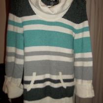 style&co. Aquagray & White Cowl Neck Sweater S Photo