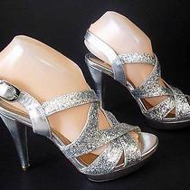 Style & Co. Bergatmor Silver Glitter Platform Heels Shoes Sandals Prom Wedding Photo