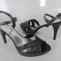Style & Co Black Sandals Size 10 Tiffany Open Toe Ankle Strap Heels Shoes New Photo